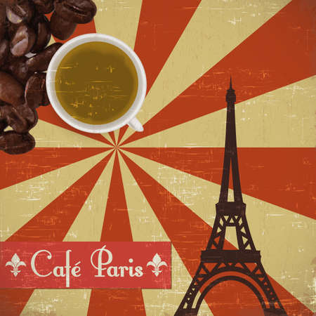 Grungy parisian coffee background. Graphics are grouped and in several layers for easy editing. The file can be scaled to any size. Stock Vector - 13757519