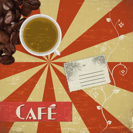 paper clip: coffee house background  Illustration