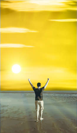 satisfied: energetic and satisfied man on the beach Illustration