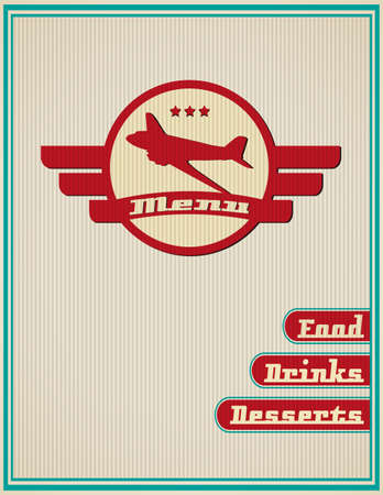 vintage airplane: luxury template for a restaurant menu with airplane
