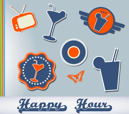 Set of different cocktail stickers for your business Vector