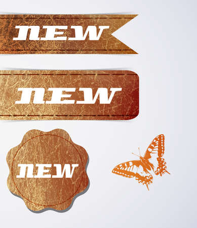 Leather Labels Set - For Your Business Vector