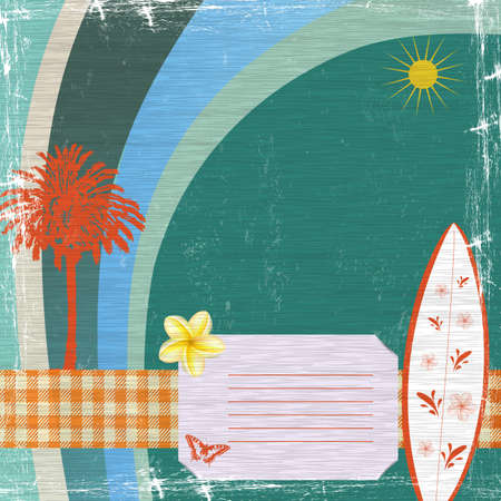 holiday background with palm, surfboard, flower and sun Vector