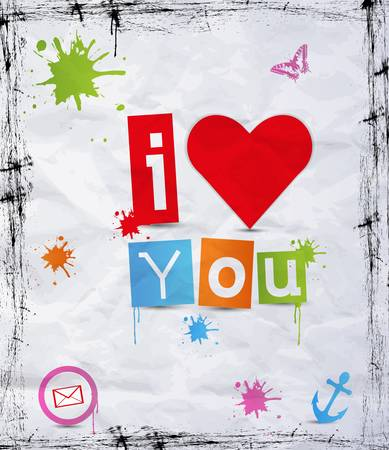 heart with text I love you  illustration. Vector