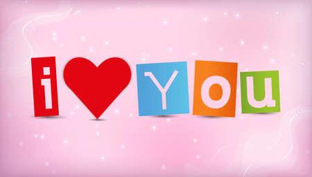 te quiero: el corazón con el texto Te amo ilustración.