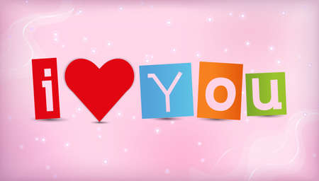 i love you: heart with text I love you illustration.