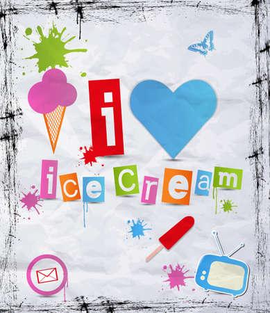 gofre: Estilo vintage Cartel de chapa con helado. Vectores
