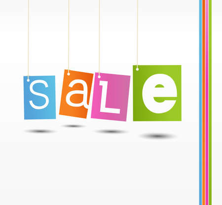 Coloful hanging sale labels for your buiseness Vector