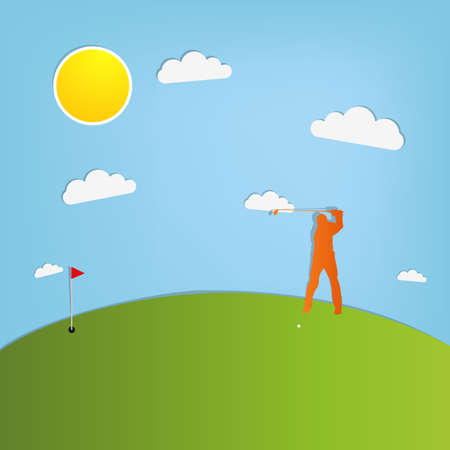 Golf player - on blue paper background Vector