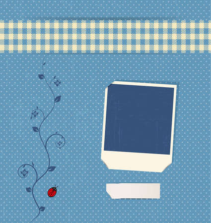 blue vintage photobook with flower and ladybug Vector