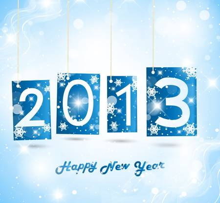 Happy New Year 2013 Blue Greeting Card Stock Vector - 15809911