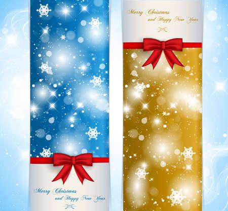 frohes neues jahr: Frohe Weihnachten und Happy New Year Banner Illustration