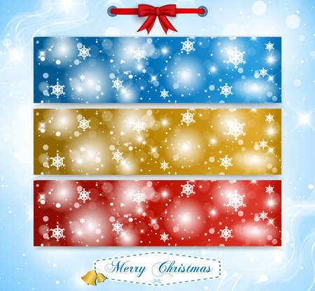 Merry Christmas and Happy New Year Banners Vector