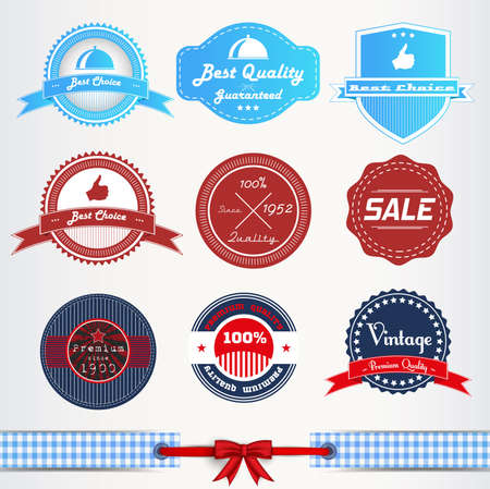 Vintage labels or badges and ribbon retro style set Vector