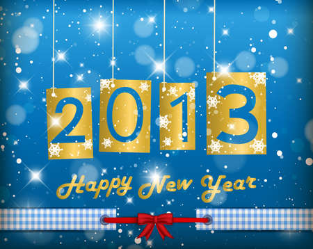 Happy New Year 2013 Blue Greeting Card Stock Vector - 15861375