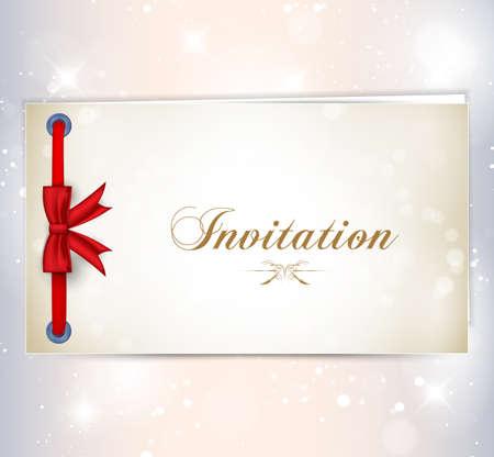 invitación a fiesta: Tarjeta de la invitación con el arco rojo. Ilustración vectorial