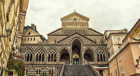 andrew: Panoramic view of St Andrew Cathedral, Amalfi, Italy Stock Photo