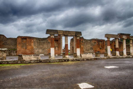 italian culture: Ruins of Pompeii Italy on the rainy day