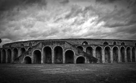 amphitheater: ancient arena in Pompeii, Italy, black and white