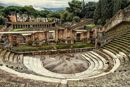 catastrophic: Ruins of a small amphitheater in Pompeii, Italy Stock Photo
