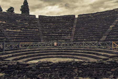 amphitheater: Ruins of a small amphitheater in Pompeii, Italy Stock Photo