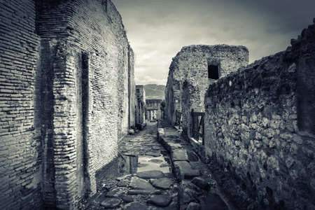 Ruins of Pompeii Italy on the rainy day photo