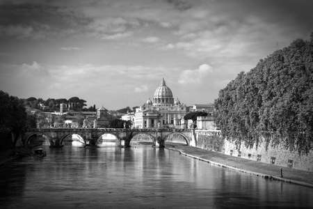 catholical: View of St Peter Basilitsa, BW, Italy.