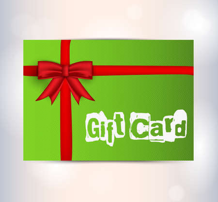 Green gift card with red ribbon.  Stock Vector - 17024045