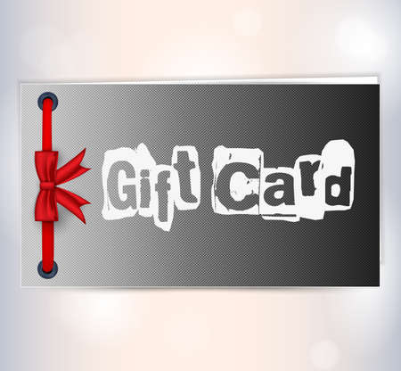black gift card with red ribbon. Stock Vector - 17024041