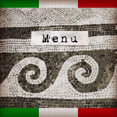 Dark brown marble-stone mosaic menu. Italy Stock Vector - 17181559