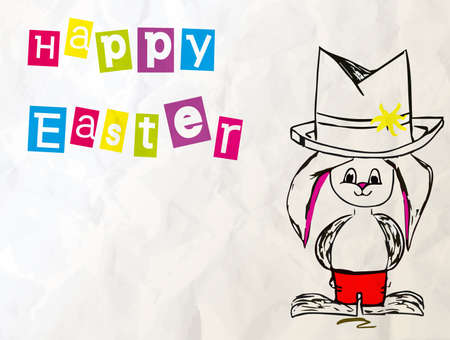 Happy Easter Text Above A  Bunny Vector