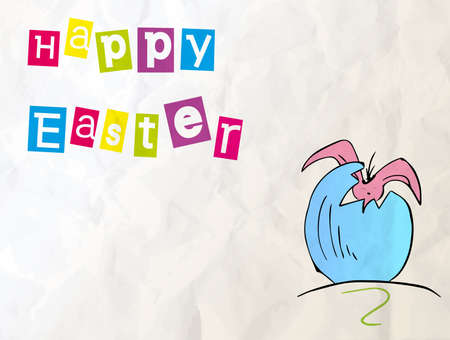 funny easter: Happy Easter - baby rabbit and easter eggs