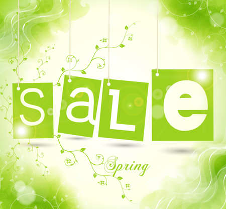 green sale tags with shadow. spring vector illustration Vettoriali