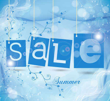green sale tags with shadow. summer vector illustration