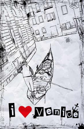Silhouette gondole sur le canal vénitien - vecteur de fond Banque d'images - 18984862