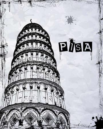 florence italy: Pisa, Piazza dei Miracoli, con la Basilica e la torre pendente, Italia Vettoriali