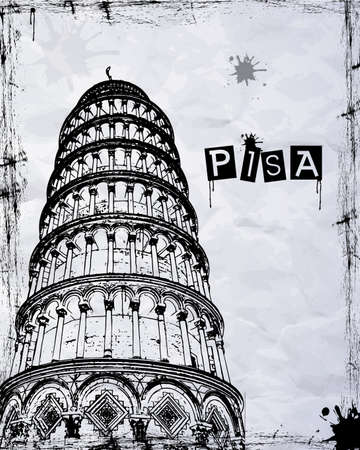 siena italy: Pisa, Piazza dei miracoli, with the Basilica and the leaning tower, Italy Illustration