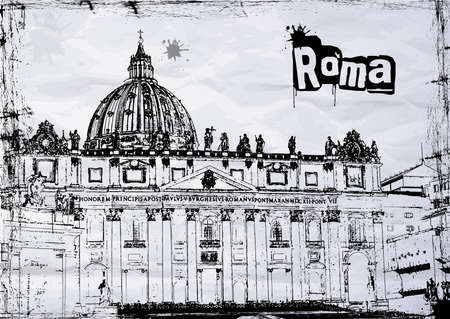 rome italie: Cath�drale Saint-Pierre � Rome, en Italie, BW Illustration