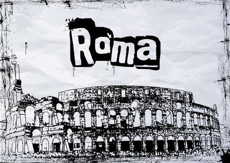 view of the Colosseum Amphitheater in Rome against blue sky background. Illustration