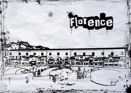 florence italy: Ponte Vecchio, Firenze con riflessi nel fiume Arno Vettoriali