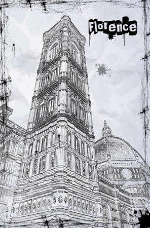 florence italy: Cattedrale di Santa Maria del Fiore a Firenze, Italia Vettoriali