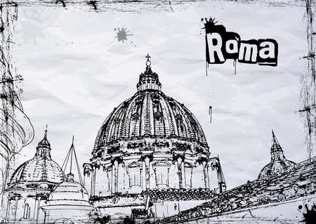 St. Peters cathedral in Rome, Italy Vector