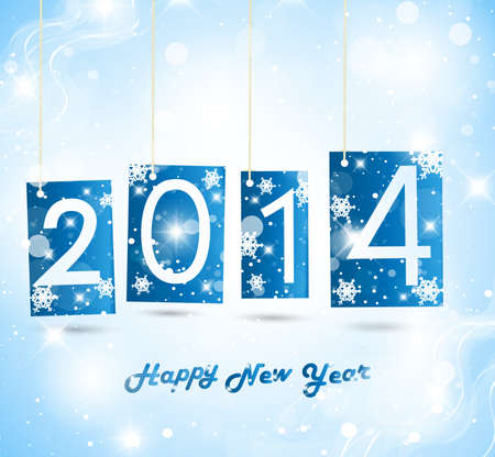 Happy New Year 2014 Blue Greeting Card Vector