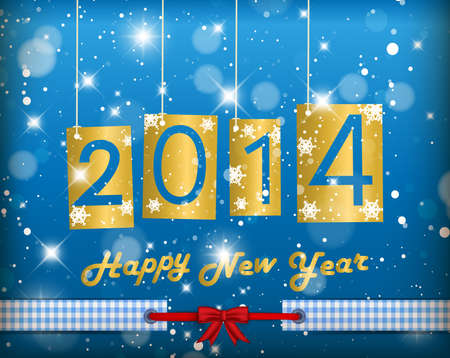 greetingcard: Happy New Year 2014 Blue Greeting Card Illustration