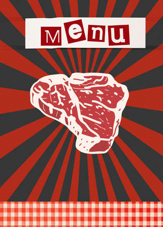 pork rib: BBQ poster template with fresh beef steak