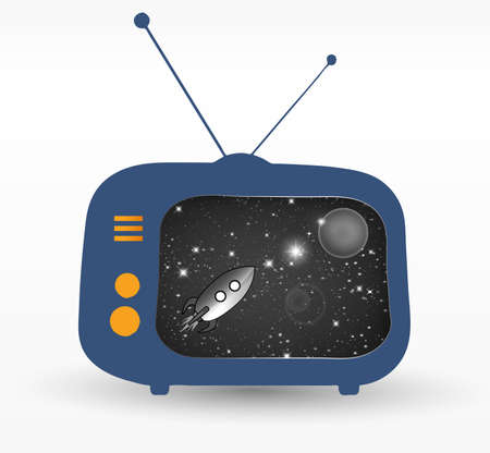outmoded: retro tv set with retro rocket in space on the screen Illustration