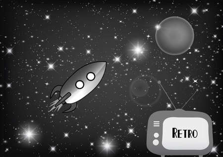 outmoded: retro tv with retro rocket in space