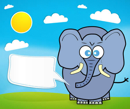 Cute elephant cartoon vector with speech bubble Vector