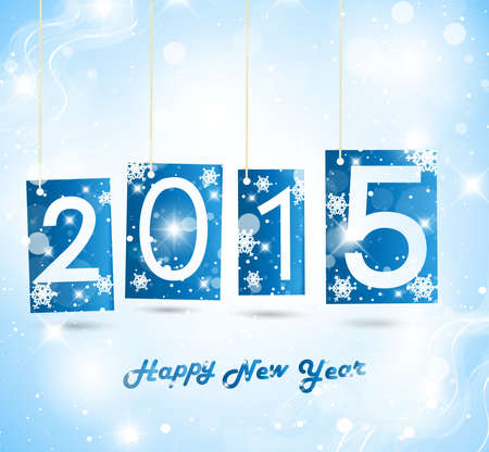Happy New Year 2015 Blue Greeting Card Vector