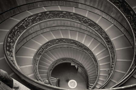 italian architecture: A double spiral staircase in Vatican, Italy